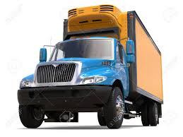 Blue And Yellow Refrigerator Truck - Low Angle Shot Stock Photo ...