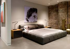 brick wall and recessed lighting ideas for mens bedroom decoration