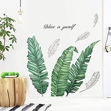 wandtattoo blätter grün wandbild tropische pflanzen diy klebend blumen set wandsticker blumen deko für wohn schlafzimmer kinderzimmer küche flur