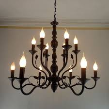 Luxury Rustic Wrought Iron Chandelier E14 Candle Black Vintage Antique Home Chandeliers For Living Room European Lamp