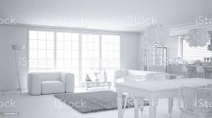 gesamtweißes projekt aus minimalistischem weißem wohnzimmer und küche großes fenster und teppichpelz skandinavische klassische innenarchitekturkonzept