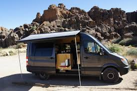 The Sprinter In Action Mojave National Preserve Awning And Stove Out While Cooking