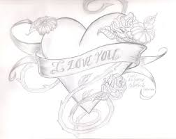 Free I Love You Drawings In Pencil With Heart Download Free Clip
