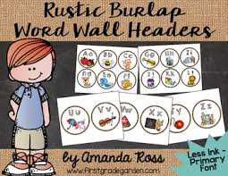 Rustic Burlap Word Wall Headers