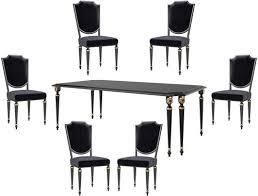 casa padrino luxus barock esszimmer set schwarz antik gold 1 esszimmertisch 6 esszimmerstühle barock esszimmermöbel luxus qualität edel