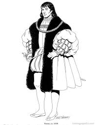 Renaissance Costumes And Clothing Coloring Pages 27