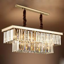 moderne rechteckige kristall gold pendelleuchte led e14 kristall esszimmer kronleuchter metall kreative le für wohnzimmer bar