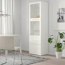 bestå vitrine weiß selsviken hochglanz klarglas weiß 60x42x193 cm