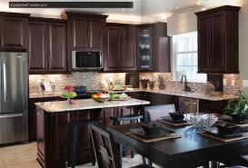 Chocolate Wooden Kitchen Cabinet With Santa Cecilia Granite Countertop And Sink Plus Faucet Dining Table