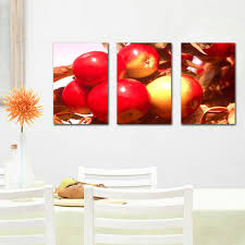 3 Piece Modern Kitchen Canvas Paintings Red Apples Wall Art Oil Painting Set Bar Dinning Room