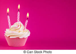 Birthday cupcake Cupcake decorated with three pink candles