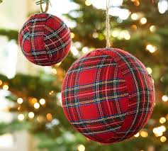 Red Plaid Ball Ornaments