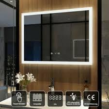 details zu led badezimmerspiegel mit uhr touch badspiegel 80x60 cm spiegel mit beleuchtung