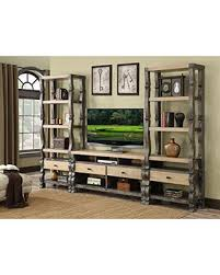 Emerald Home Barcelona Dark Brown And Rustic Pine Entertainment Center With Four Drawers Wire Management