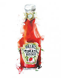 Heinze tomato ketchup painting Watercolor food illustrations