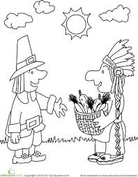 Thanksgiving Kindergarten Holiday Worksheets First Coloring Page