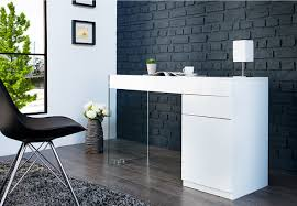 bureau blanc laqué bureau design blanc laqué et verre dublin 120 cm