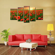 5 Panels Flower Sea Wall Art Canvas Painting Beautiful Red Poppy With Wooden Framed For Home Decoration As Gift Frames Paintings Outlet
