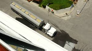 Top View 18 Wheeler Tanker Truck Pullin Out Stock Video Footage ...