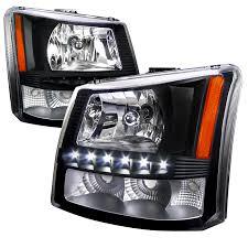 03 06 chevy silverado 1pc style led drl headlights black