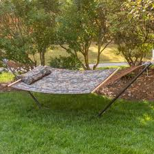 RealTree Quilted Hammock Combo With Pillow And Stand|Castaway ... Fniture Indoor Hammock Chair Stand Wooden Diy Tripod Hammocks 40 That You Can Make This Weekend 20 Hangout Ideas For Your Backyard Garden Lovers Club I Dont Have Trees A Hammock And Didnt Want Metal Frame So How To Build Pergola In Under 200 A Durable From Posts 25 Unique Stand Ideas On Pinterest Diy Patio Admirable Homemade To At Relax Your Yard Even Without With Zig Zag Reviews Home Outdoor Decoration