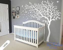 Wall Mural Decals Uk by Huge White Tree Wall Decal Nursery Tree And Birds Wall Art Baby