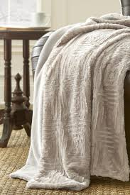 Kenneth Cole Bedding by Amrapur Luxury Faux Fur Throw White Sand Hautelook