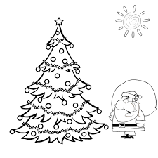 Santa And Big Christmas Tree Coloring Page Holiday Kids