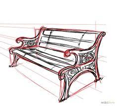 Drawn bench Pencil and in color drawn bench