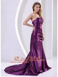 Eggplant Purple One Shoulder Mother Of The Bride Dress With Ruch And Appliques Court Train Elastic