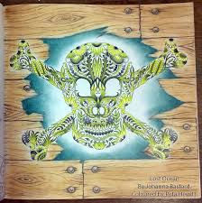 This Skull And Crosebones From Johanna Basfords Lost Ocean Colouring Book Was A Slow Process I Picked The Picture To Work On With Limited Palette