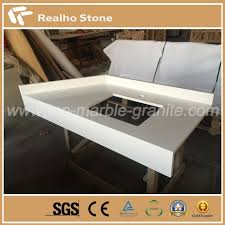 Polishing RH6141 White Sparkle Quartz Stone Countertops For