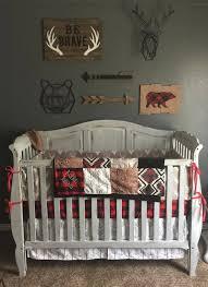 Boy Crib Bedding by Woodland Boy Crib Bedding Gray Buck Deer Skin Minky White Gray