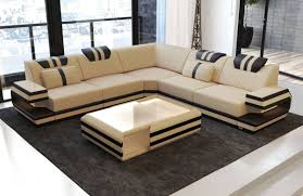 100 Sofas Modern Sectional Fabric Sofa San Antonio L Shape With LED