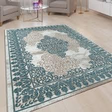 wohnzimmer teppich kurzflor teppich mit orient muster 3d look in türkis