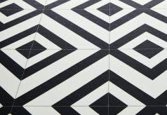 Moroccan Style Cushioned Vinyl Flooring Sheet Tangier Vintage Look Lino Black And White Linoleum Roll Retro