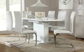 Osaka White High Gloss Extending Dining Table And 6 Chairs Set Design Of Room