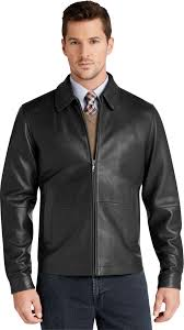 signature collection traditional fit leather jacket jos a bank