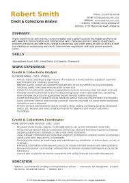 Credit Collections Analyst Resume Sample