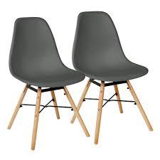 dunkelgrau 2er set skandinavisches retro design modern stühle esszimmerstühle möbel holz stahl kunststoff schale rund für wohnzimmer esszimmer küche