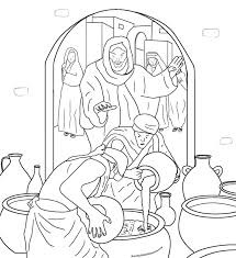 Jesus Turns Water Into Wine At A Wedding In Cana John 2 Bible Coloring PagesPrintable