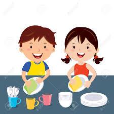 Children Washing Dishes Dish Clipart Chore