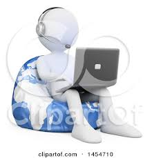 Clipart Graphic Of A 3d White Man Customer Service Rep Using Laptop On Globe Bean Bag Chair Background