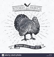 butcher shop vintage emblem turkey meat products butchery logo
