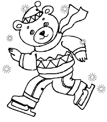 Dancink Bear Winter Coloring Pages
