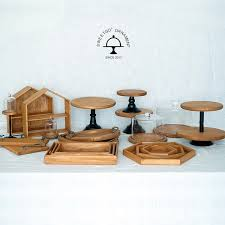 Wooden Vintage Cake Stands Cupcake Food Dessert Plates Tray For Wedding Birthday Home Party Decoration Baking