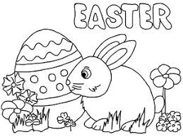Happy Easter Bunny And Egg Free Printable Coloring Page For Kids