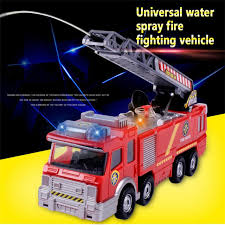 1X Electric Fire Truck Toy For Kid Extending Ladder Flashing