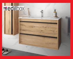 details zu badmöbel set montiert 80 cm eiche mit waschtisch hängend badezimmermöbel holz