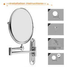 lights inch magnifying wall mounted makeup mirror chrome